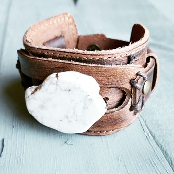 Chunky White Turquoise on Dusty Leather Cuff