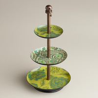 Green Floral Enamel Three-Tiered Jewelry Stand - World Market