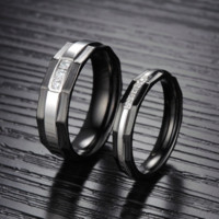 Personalized Black Weddding Engagement Men Jewelry Fashion Stainless Steel CZ Diamond Inlaid Couple Rings For Women 435