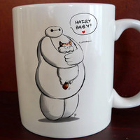 baymax hairy baby hero six Mug front 11 oz White Ceramic Mug custom mug coffee and tea