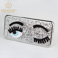 New Arrival 2015 3D Fashion Chiara Ferragni Sequins Big Blinking Eyes Case for iPhone6 iPhone 6 Plus Bling Phone Case Cover