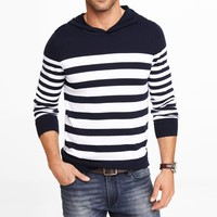 MIXED STRIPE HOODED SWEATER