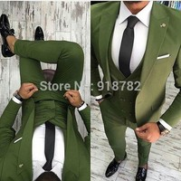 Men Suit For Wedding Groom Suits 2018 New Designer Green Three Pieces Set Slim Fit Formal Prom Party Suit Tuxedo Costume Homme