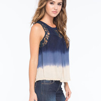 Patrons Of Peace Lace Ombre Womens Top Navy  In Sizes