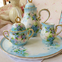 Antique Bavaria Porcelain Teapot Sugar And Creamer On Tea Tray Set Hand Painted  Flowers Circa 1900s Victorian