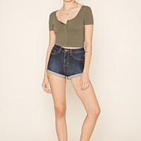 Button-Front Crop Top   Forever 21 - 2000205655