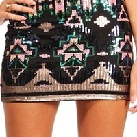 Navy Gold Green Sequin Mini Skirt Tribal Aztec Print Lined Evening Cocktail