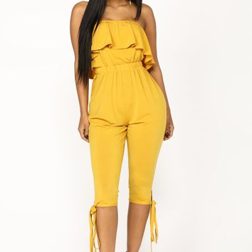 No Pressure Crop Jumpsuit - Mustard
