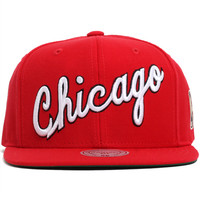 Chicago Bulls Solid 2 Cursive Script Snapback Hat Red
