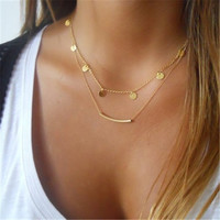 Unique Charm Brand Design Gold Plated Collar Clavicle Chain Bar Necklace