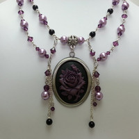 Purple Swarovski Crystal and Purple Glass Pearl Beaded Rose Cameo Necklace - Double Strand