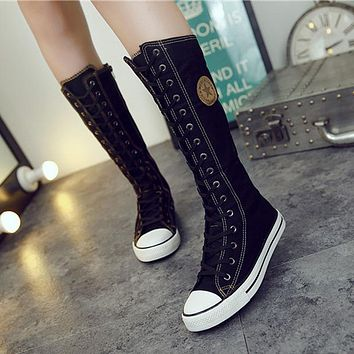 Women's Canvas Boots Lace Zip Knee High Boots Flats Casual Tall Punk Shoes