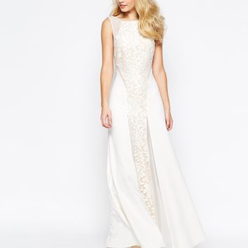 Jarlo Beatrix Lace Panel Maxi Dress With Low Back