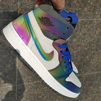 NIKE Air jordan 1 AJ1 high-top reflective color men's and women's sports shoes casual shoes