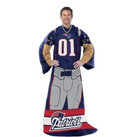 New England Patriots Uniform Comfy Throw Blanket with Sleeves by Northwest (Pat Team)