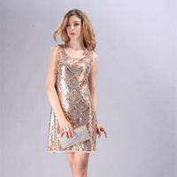 Great Gatsby 1920s Style Vintage Flapper Scallop Charleston Dress Beaded Mini Sleeveless Dress