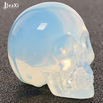 Skull Skulls Halloween Fall 1 pcs 2 inch Handmade opalite Crystal Carved  statue Realistic Feng shui healing ability of the Stone Home Ornament Calavera