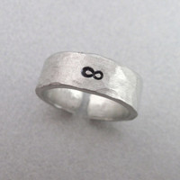 INFINITY Hand Stamped and Hammered Aluminum Ring  by emerydrive