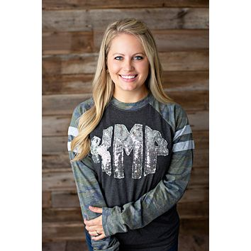 Sequin Monogrammed Camo Long Sleeve Jersey Style - 2020
