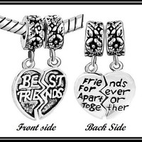 2Pc - DUaL Sided - BeST FRiENDS FOReVER TOGeTHER - DaNGLE - Excellent Quality - AUTHeNTIC Charm Bead - fits EURoPEAN Bracelets - PuG-D-4406