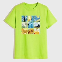 Fashion Casual Men Neon Lime Graphic Print Round Neck Tee