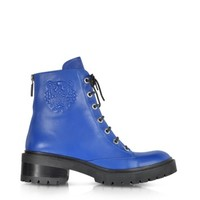 Kenzo Designer Shoes Blue Nappa Leather Tiger Boot
