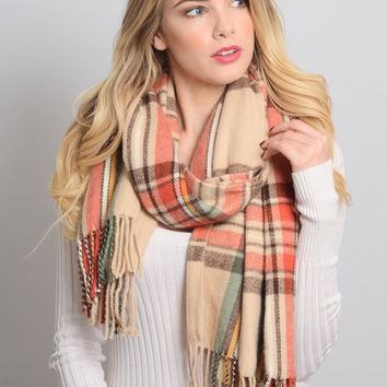 Cream and Red Plaid Flannel Scarf with Fringe