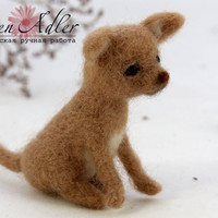 Chihuahua wool miniatures, chihuahua needle felted toy, natural wool dog, miniature toys, mini pet
