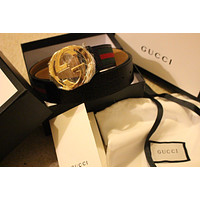 New Gucci Women's Nylon Web belt with double G buckle 115cm