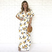 Gift Of Love Ivory Floral Print Maxi Dress