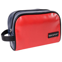 Grooming Bag and Travel Toiletry Tote in Faux Leather – NAVY/RED