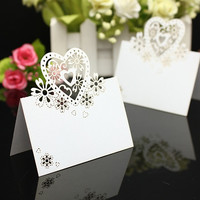 100pcs White Love Heart Laser Cut Cards For Wedding Party Table Name Place Decor Favor (Color: White) = 1931827844