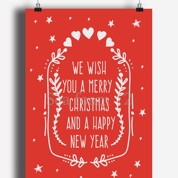 Christmas Card, Happy New Year ,Christmas Printable , XMas Cards , Red Wish Christmas Cards Download, Digital Christmas Print, Holidays Card