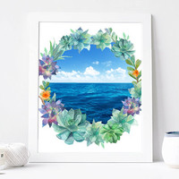 Sea Succulent Wreath, Watercolor Sea Succulent Digital Print, Wall Decor, Typography, Water, Aqua, Ocean, Travel, Home Decor, Poster Art