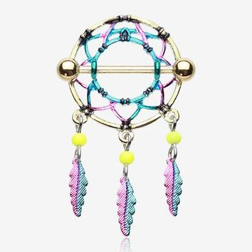 A Pair of Golden Dreamcatcher Feather Nipple Shield Ring