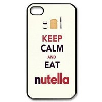 """2013 New Style Funny """"Keep Calm AND EAT nutella"""" White Cover Hard Plastic iPhone 4 4S Case"""