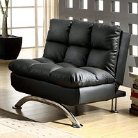 Aristo Contemporary Aristo Single Sofa Chair With Leather Black Finish By Casagear Home