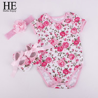 HE Hello Enjoy Bodysuit baby girl 2016 Baby girl clothes sets girl clothes outfits (Bodysuits+Accessories + Baby First Walkers)