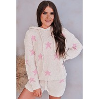 What Will Knit Be Star Fluffy Lounge Set (Cream Pink)