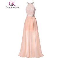 Grace Karin Prom Dresses 2017 Real Picture Elegant Long Prom Gown vestidos de noche Pink High Neck Backless Formal Dresses 00038