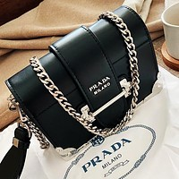 Samplefine2 PRADA Playful cute tongue elements Shoulder Bag Buckle Bag Handbag Bag Black