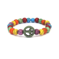 Green Peace Sign Bracelet with multicolor beads by SassyBelleWares