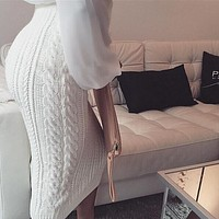 Fashion Pure Color Knitted Skirt [L720369]
