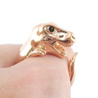 Dinosaur T-Rex Prehistoric Animal Wrap Around Ring in Shiny Copper | US Sizes 4 to 9