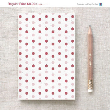Back to School Recycled Journal & Pencil Set - Burgundy Hexagons - Wedding Favors, Birthday Party Favors