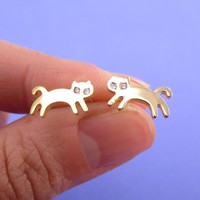 Jumping Kittens Cat Shaped Allergy Free Stud Earrings in Gold