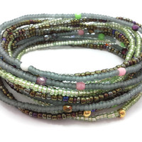 Seed bead wrap stretch bracelets, stacking, beaded, boho anklet, bohemian, stretchy stackable multi strand, green grey brown fire polished