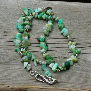 Men's  Green Opal Chip Stone Necklace ~ Natural Stone Jewellery ~ Healing  ~ Chakra ~ Unisex ~ Irregular Shaped Stones ~ Gift for Uncle