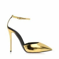 W.L. Gold Spiked Heels