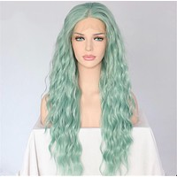 Gab- Front Lace Wavy Mint Synthetic Wig